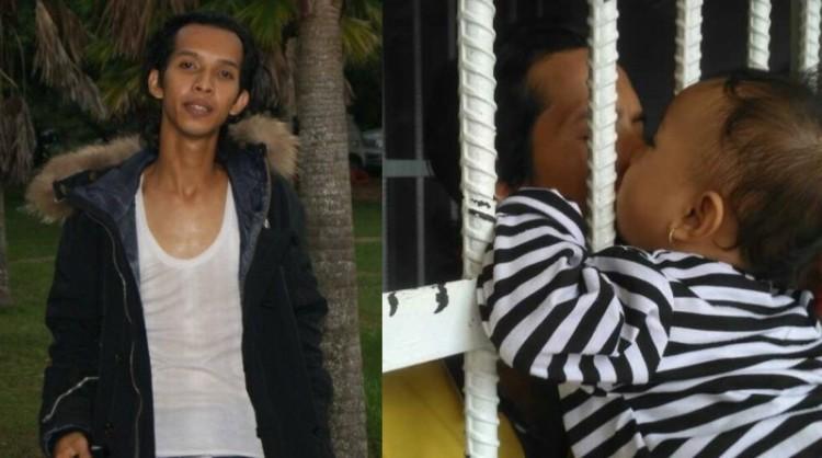 Rian Nopriansyah alias Ucok mencium anaknya di penjara