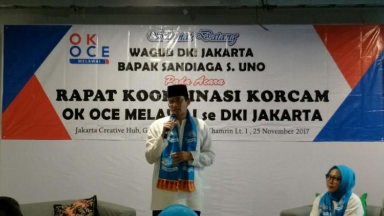 Sandiaga Uno dalam acara rapat koordinasi Relawan OK OCE