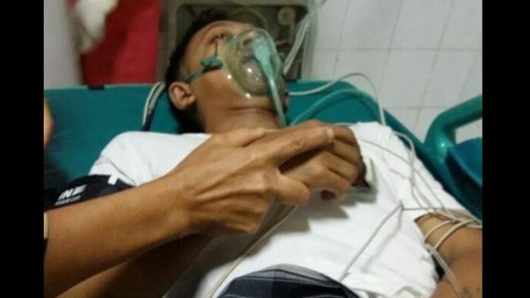 Ahmad Budi Cahyono saat dirawat di RS dr Soetomo Surabaya