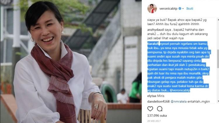 Akun Veronica Tan dibully netizen karena selingkuh