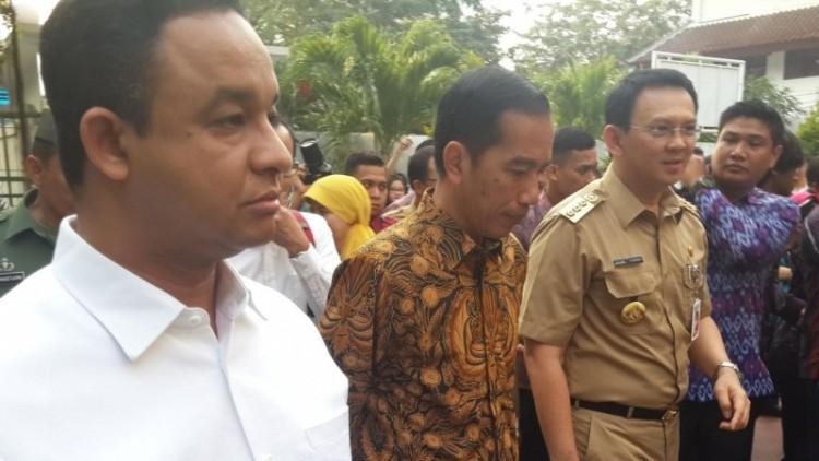 Anies Baswedan saat masih menjabat Mendikbud bersama Jokowi dan Ahok