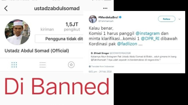 Fahri Hamzah protes akun IG Ustaz Somad diblokir