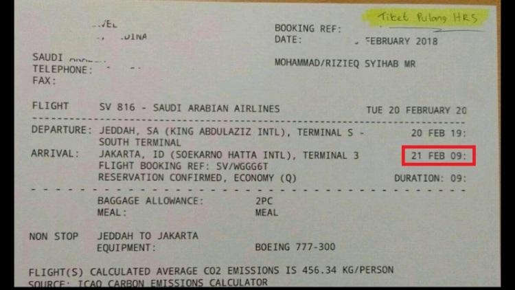 Foto tiket penerbangan Rizieq