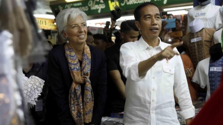 Jokowi dan Direktur Pelaksana IMF Christine Lagarde di Tanah Abang