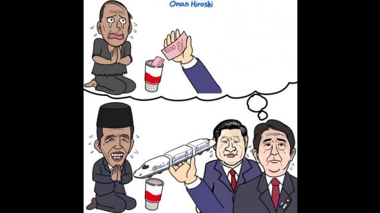 Karikatur karya Onan Hiroshi gambarkan Jokowi sebagai pengemis