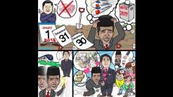 Karikatur karya Onan Hiroshi gambarkan mengemis demi 2019
