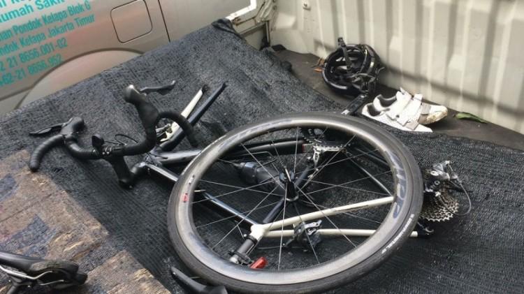 Kondisi sepeda Sandy Syafiek usai ditabrak