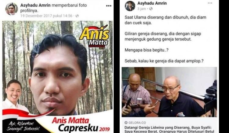 Postingan Asyhadu Amrin yang menghina Buya Syafii