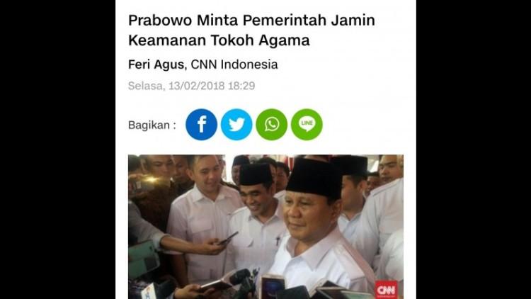 Prabowo meminta pemerintah menjamin keamanan pemuka agama
