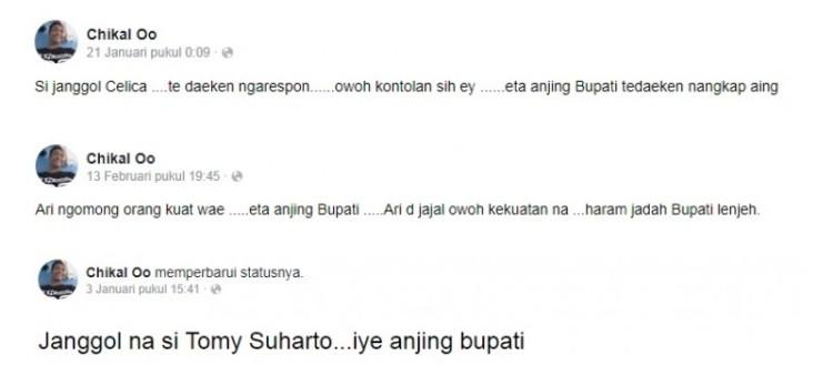 Status Facebook yang menghina Bupati Karawang Cellica Nurrachadiana