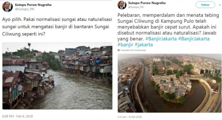 Sutopo minta Anies menormalisasi sungai bukan naturalisasi