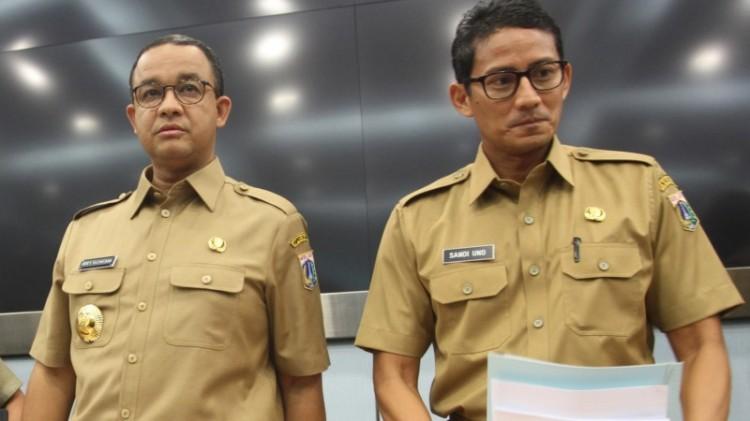Anies Baswedan dan Sandiaga Uno beda pendapat soal Dirut Dharma Jaya