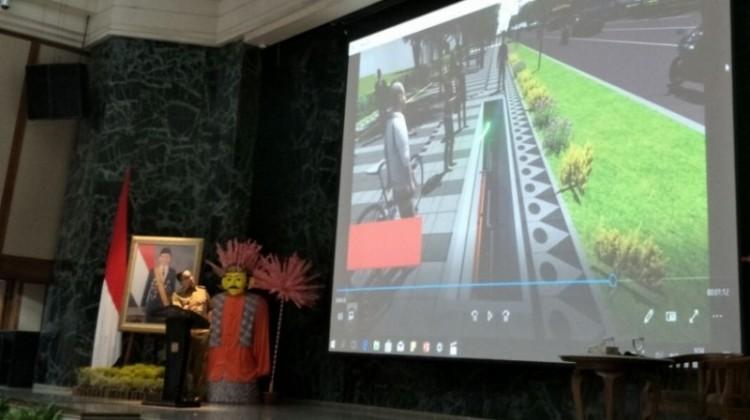 Anies Baswedan melihat rancangan trotoar Sudirman-Thamrin