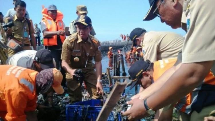 Anies Baswedan membersihkan sampah di Muara Angke