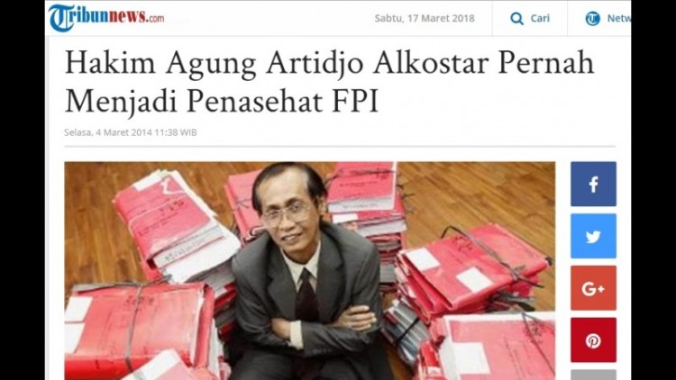 Artidjo Alkostar dikabarkan pernah menjadi penasehat FPI