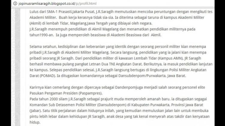 JR Saragih menyebut dirinya lulusan Akmil