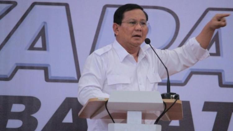 Prabowo Subianto berorasi di Soreang Bandung