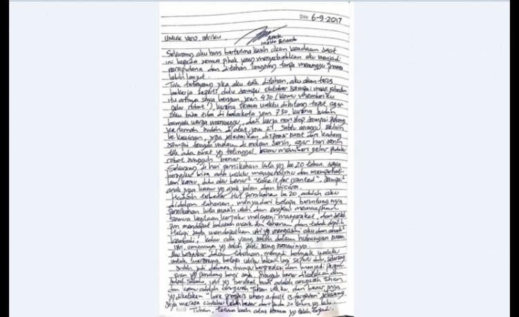 Surat cinta Ahok ke Veronica pada September 2017